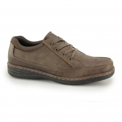 JERICHO Mens Lace Up Wide Fit Shoes Brown