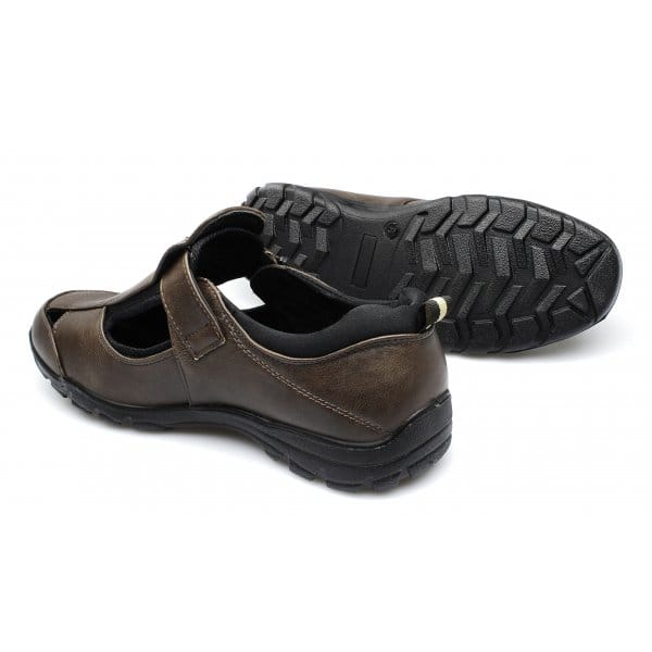 15a27cf452d2b Dr Keller JUSTIN Mens Faux Leather Touch Fasten Wide Sandals Brown