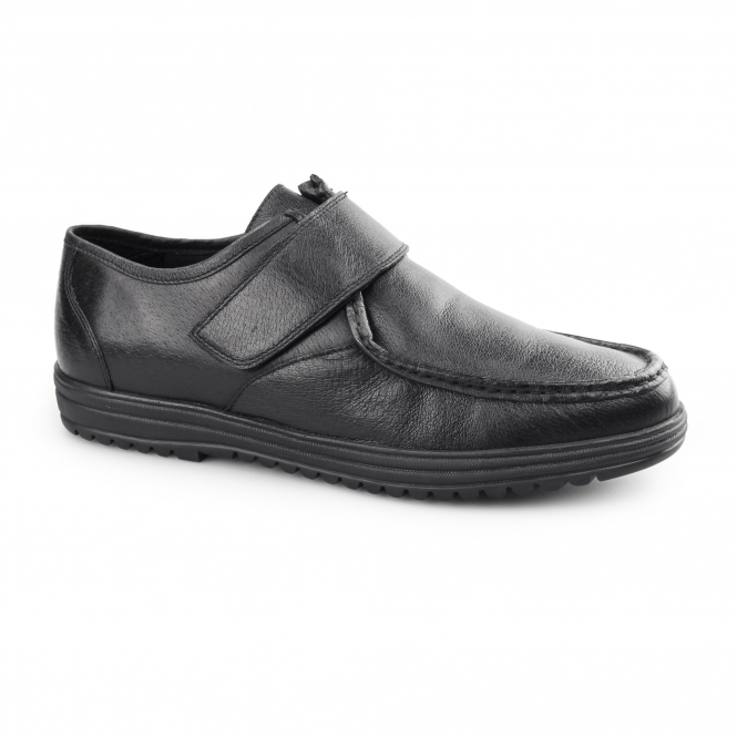 Dr Keller KEVIN Mens Leather Touch Fasten Shoes Black