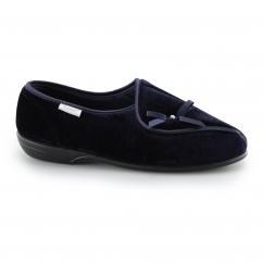Dr Keller LEITH Ladies Touch Fasten Wide Fit Slippers Navy