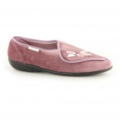 LEITH Ladies Touch Fasten Wide Fit Slippers Pink