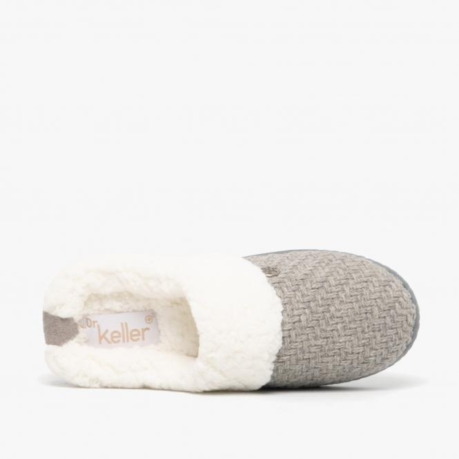 Dr Keller MAE Ladies Knitted Mule Wide Fit orthopaedic Slippers Warm Fur Cosy