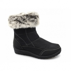 MIRIAM Ladies Faux Fur Warm Zip Winter Boots Black