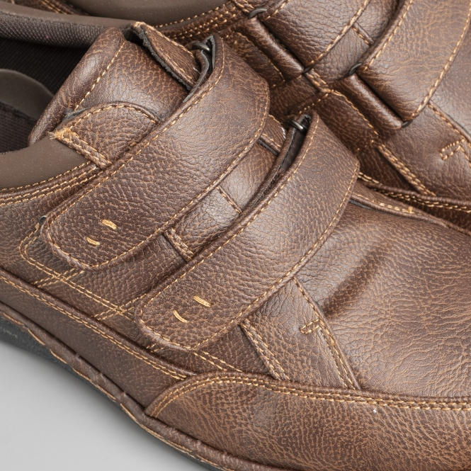 941fa3c754d23 Dr Keller MOSTON Mens Touch Fasten Wide Fit Shoes Brown | Shuperb
