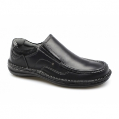 NEPTUNE Mens Leather Slip On Shoes Black