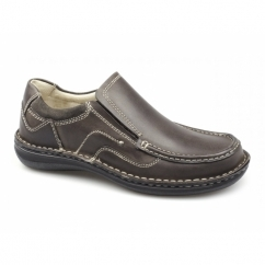 NEPTUNE Mens Leather Slip On Shoes Brown