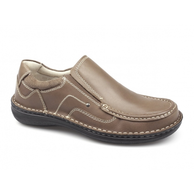 Dr Keller NEPTUNE Mens Leather Slip On Shoes Tan