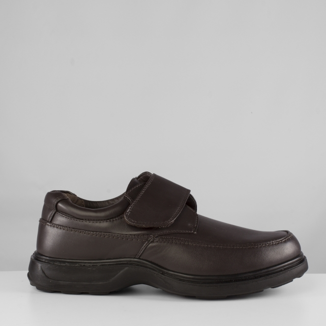 PERCY Mens Velcro Lightweight Wide Fit Shoes Dark Brown