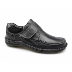 PLUTO Mens Leather Touch Fasten Shoes Black