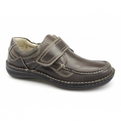 PLUTO Mens Leather Touch Fasten Shoes Brown