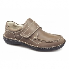 PLUTO Mens Leather Touch Fasten Shoes Tan