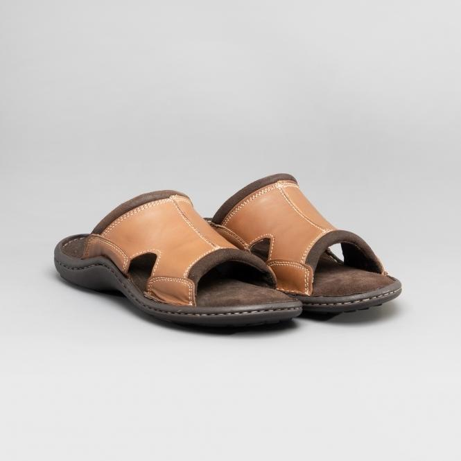 DR Keller Justin Men/'s Tan Faux Leather Wide Fit Summer Closed to Sandal Shoes