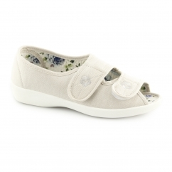 ROSE Ladies Wide Fit Touch Fasten Shoes Beige