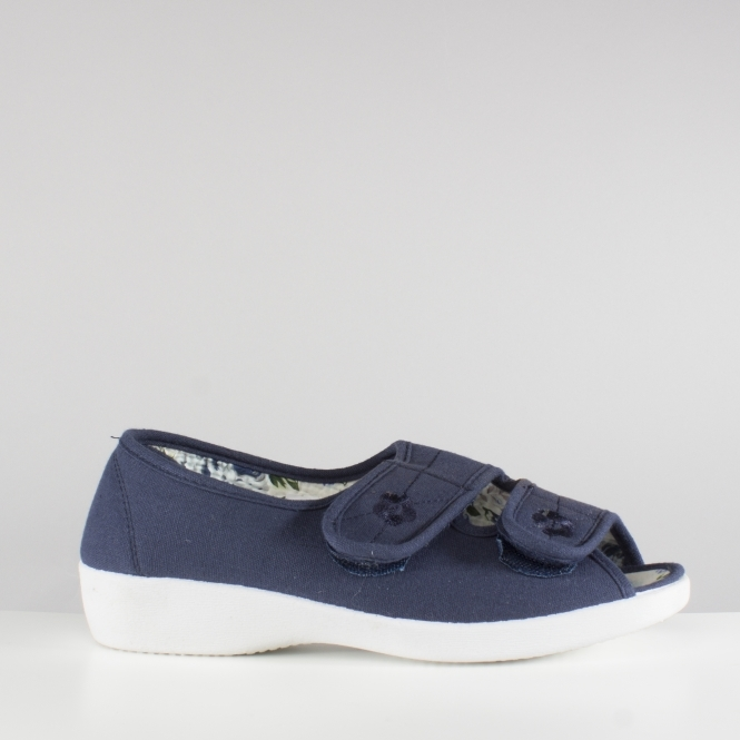 b3821276266 ROSE Ladies Wide Fit Touch Fasten Shoes Navy
