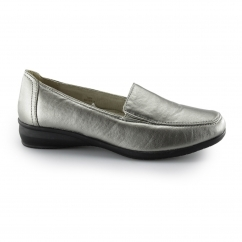SALLY 3 Ladies Faux Leather Wide Wedge Slip-On Loafers Pewter