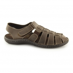 SICILY Mens Wide Fit Touch Fasten Sandals Brown