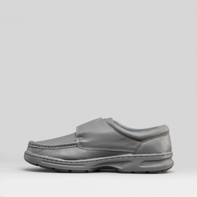 67638c01e5e77 Dr Keller TEXAS Mens Leather Touch Fasten Wide Fit Shoes Grey