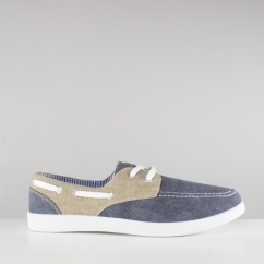 Dr Keller THAD Mens Casual Canvas Comfy Deck Shoes Navy Blue