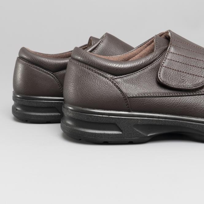 5da7b1cff6e TONY Mens Touch Fasten Comfort Wide Fit Shoes Brown