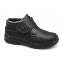 DREYFUSS Mens Faux Leather Dual Fit Touch Fasten Boots Black