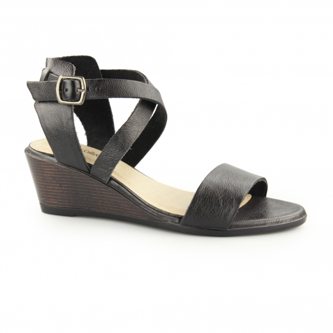 Up Buckle Leather Black Ladies Wedge Sandals Drucilla FT1JclK