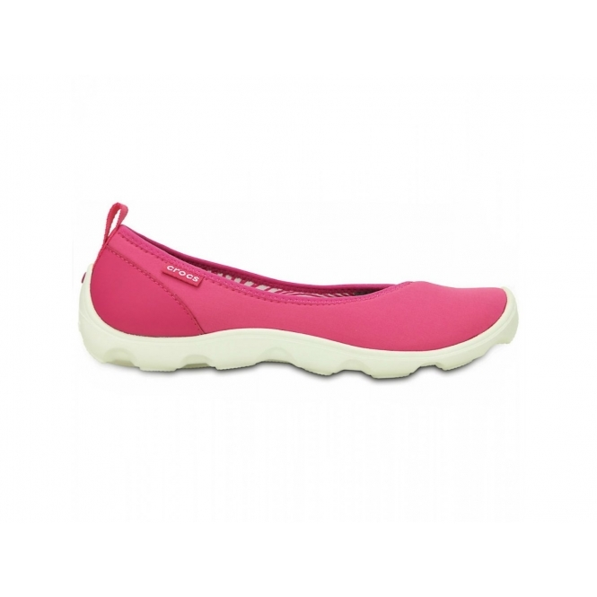 Crocs DUET BUSY DAY FLAT Ladies Walking Trainers Pink/White