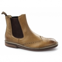 DUNCAN Mens Leather Brogue Chelsea Boots Tan