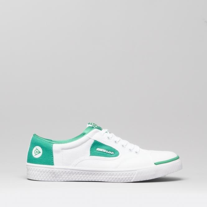 a08b93854c1c4 Dunlop GREEN FLASH Unisex Canvas Trainers White/Green | Shuperb