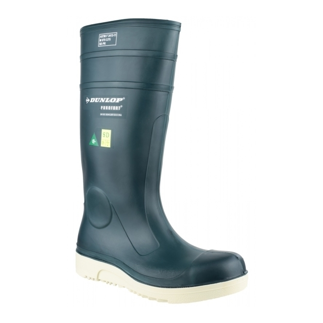 Dunlop PUROFORT+ E262673 Unisex S5 Grip Safety Wellington Boots Blue