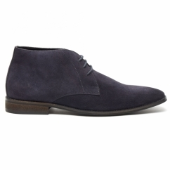 DUNN Mens Suede Lace Up Chukka Boots Dark Blue