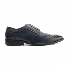 DURHAM Mens Washed Leather Derby Brogues Navy