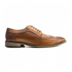 DURHAM Mens Washed Leather Derby Brogues Tan