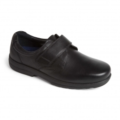 DYLAN Mens Leather Extra Wide Plus Touch Fasten Shoes Black