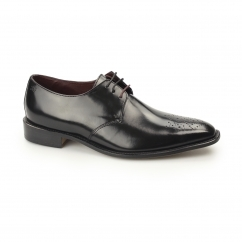 EARL Mens Polished Leather Brogue Derby Shoes Black