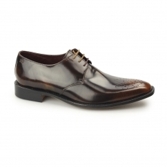 EARL Mens Polished Leather Derby Shoes Tan