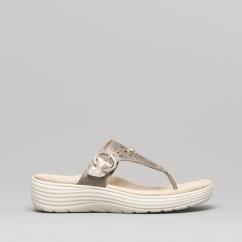 f782065c2c3c0 Earth Spirit CAMPBELL Ladies Leather Toe Post Sandals Platinum