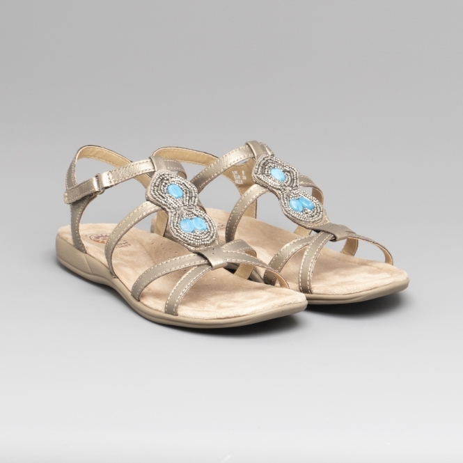 df0921b0d198 Earth Spirit ELLENSBURG Ladies Leather Embellished Sandals Platinum ...