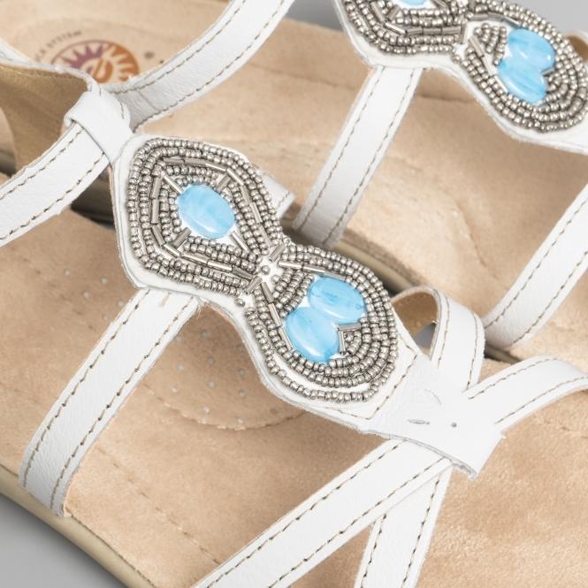 fda05a5c73d7 Earth Spirit ELLENSBURG Ladies Leather Embellished Sandals White ...