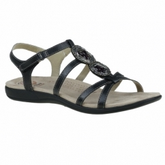 INGLEWOOD Ladies Leather Strappy Sandals Black