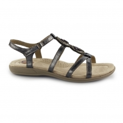 INGLEWOOD Ladies Leather Strappy Sandals Pewter