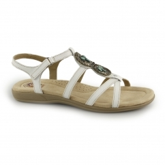 INGLEWOOD Ladies Leather Strappy Sandals White