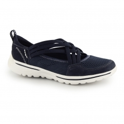 LAREDO Ladies Leather Cross Over Elasticated Shoes Navy Blue