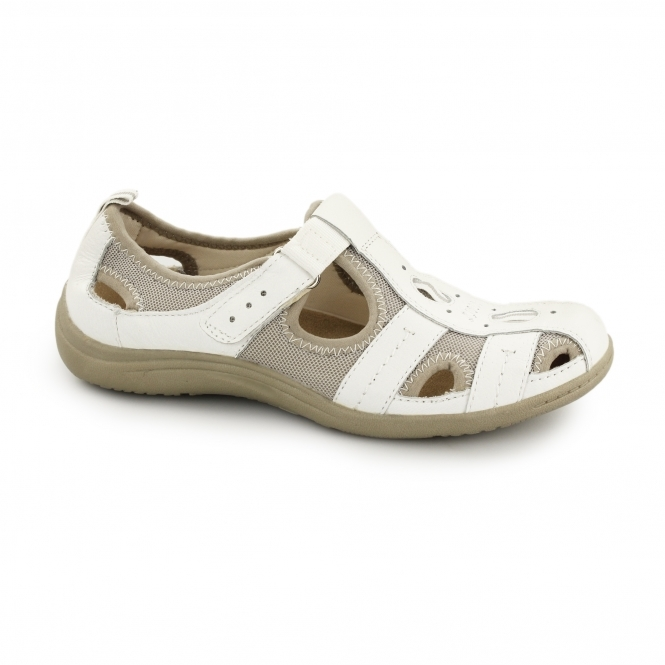 bbe2ce0548e Earth Spirit MADISON Ladies Suede Velcro Sandal Shoes White