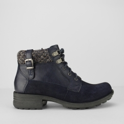 MOBILE Ladies Suede Leather Walking Boots Navy Blue