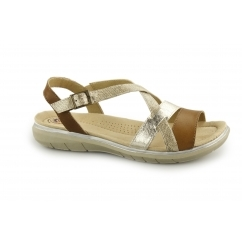 OCEANSIDE Ladies Leather Open Toe Buckle Sandals Alpaca