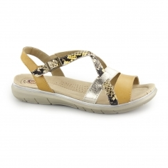 OCEANSIDE Ladies Leather Open Toe Buckle Sandals Amber Yellow