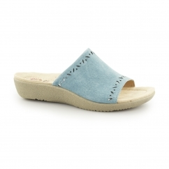POMONA Ladies Leather Heeled Open Toe Mule Sandals Cool Aqua