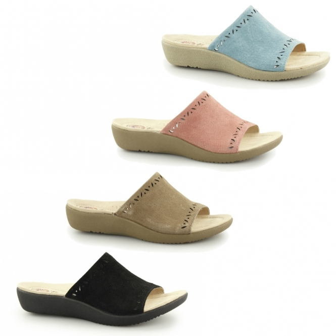 f02cd722a58183 Earth Spirit POMONA Ladies Leather Heeled Open Toe Mule Sandals Coral
