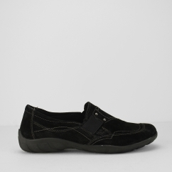 SANTA ANA Ladies Suede Leather Slip On Shoes Black
