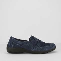 SANTA ANA Ladies Suede Leather Slip On Shoes Navy